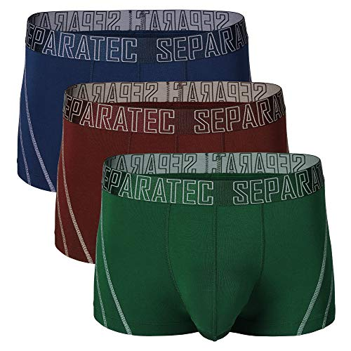 Separatec Men's 3 Pack Soft Bamboo Fiber Separate Pouches Trunks (M, Navy Blue/Olive Green/Maroon)