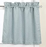 United Curtain Hamden Woven Waffle Kitchen Tiers, 55 by 24-Inch, Blue, Set of 2