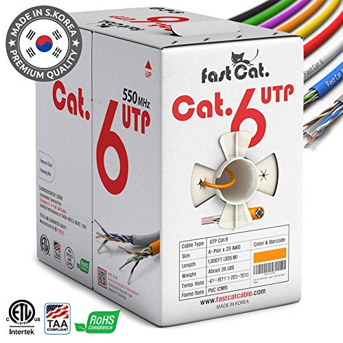 fast Cat. Cat6 Ethernet Cable 1000ft - Insulated Bare Copper Wire Internet Cable with Noise Reducing Cross Separator - 550MHZ / 10 Gigabit Speed UTP LAN Cable 1000 ft - CMR (Orange)
