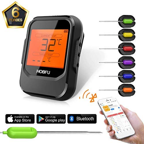 BBQ Digital Meat Grill Thermometer Bluetooth Wireless Remote Thermometer Cooking Instant Read with 6 Probes HOBFU Alarm Monitor APP Controlled for Kitchen Outdoors Smoker Oven Food Milk Tea