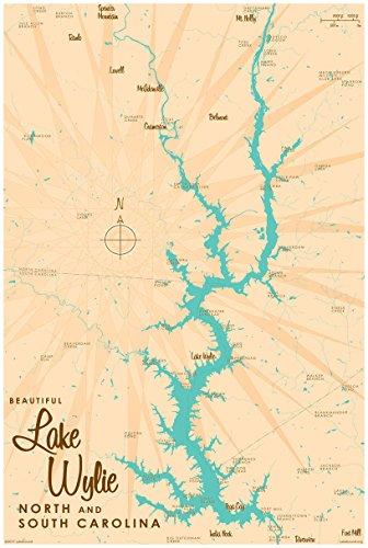 Lake Wylie, Carolinas Map Vintage-Style Art Print by Lakebound (24