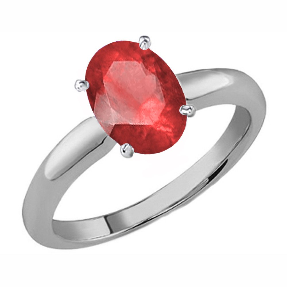 18K White Gold 7X5 MM Oval Cut Ruby Ladies Solitaire Bridal Engagement Ring (Size 7)