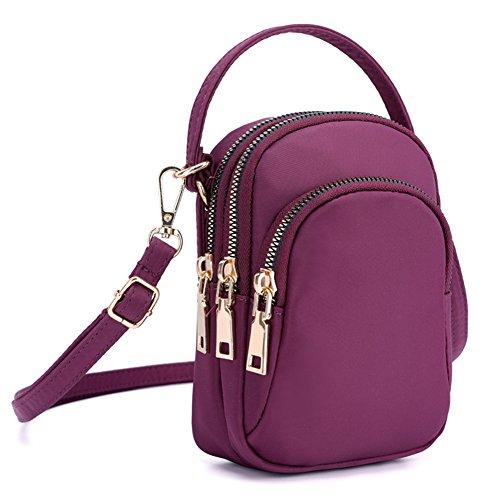 SCIEN Nylon Small Crossbody Purse Cell Phone Bag Smartphone Wallet Zipper Pocket for Women, Purple