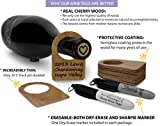Cherry Wood Wine Bottle Tags (50 Reusable Tags) Real Cherry Wood with Erasable Marker - For Wine Racks and Cellars - Dry-Erase and Permanent Marker Erasable