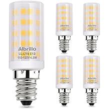Albrillo E12 Light Bulb Candelabra Light Bulbs 5W, 60 Watt Equivalent Ceiling Fan Bulbs, 3000K Warm White, Non Dimmable LED Light Bulbs, 5 Pack