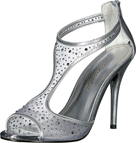 Caparros Womens Hope Open Toe Special Occasion T-Strap Sandals Silver Metallic Size 7.5 M US