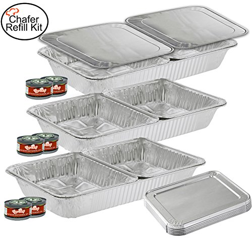 TigerChef TC-20519 Chafer Pans Set, Includes 3 Full Size Aluminum Steam Table Pans, 6 Half Size Aluminum Foil Pans with 6 Lids and 6 Gel Fuel Cans (Steam Table Pan Rack)
