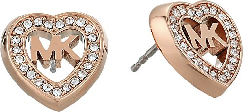 Michael Kors Women's Love Is In The Air Pave Heart Stud Earrings Rose Gold One - Michael Shop Kors