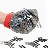 Inf-way 304L Brushed Stainless Steel Mesh Cut Resistant Chain Mail Gloves Kitchen Butcher Working Safety Glove 1pcs (Large)
