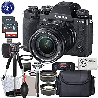 FUJIFILM X-T3 Mirrorless Digital Camera with 18-55mm Lens (Black) w/Deluxe Striker Kit