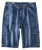 JiaYou Men Big Boy Summer Mid Waist Slim Straight Capris Pants Half Length Trousers Denim Cropped Jeans(D Blue The Waist 48.0 Inches/122 cm)