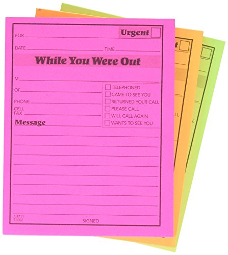 Adams While You were Out Pads, 4.25 x 5.25 Inches, Assorted Neon Colors, 50 Sheets/Pad (6-Pack) ()