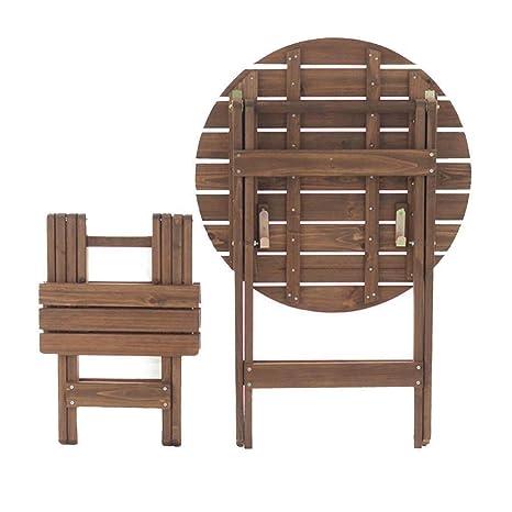 Yqzq Mesa Redonda pequeña y sillas Plegables y portátiles ...