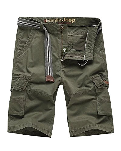 (Wxian Men's Multi-Pocket Solid Color Cargo Shorts)