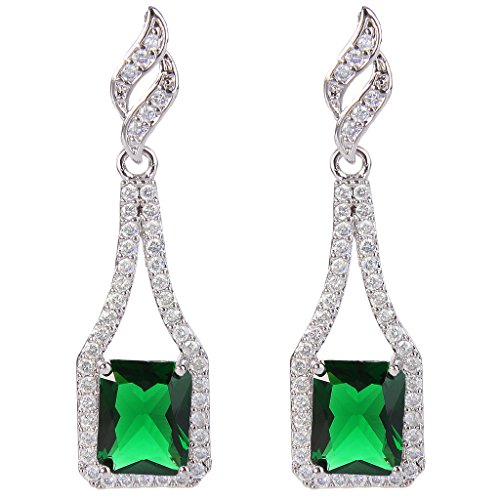 EVER FAITH Women's CZ May Birthstone Square Bridal Drop Earrings Green Emerald Color Silver-Tone