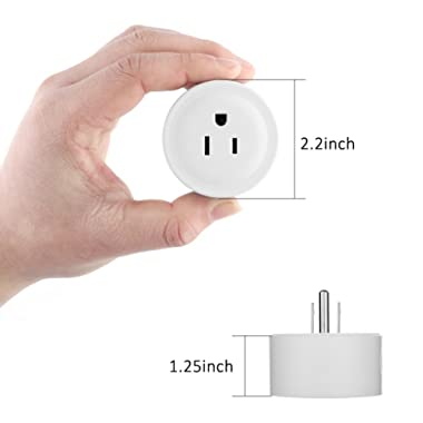 SMARTWOOD Wifi Smart Plug 2 Packs Mini Smart Outlet Compatible with Amazon Alexa & Google Home,Remote Control by Smart Phone with Timing Function from Anywhere,No Hub Required