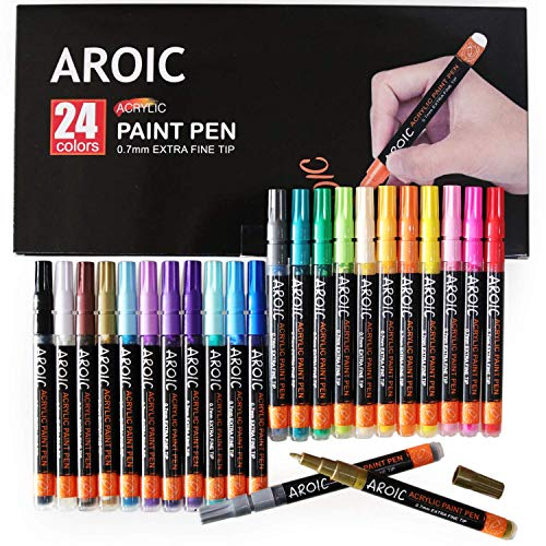 Acrylic Paint Pens for Rock Painting - Write On Anything! Paint pens for Rock, Wood, Metal, Plastic, Glass, Canvas, Ceramic and More! (24 PACK)
