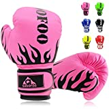 GROOFOO Kids Boxing Gloves for Child Punching Bag Sparring Training, 4oz 6oz fit 3 to 14 Years (Pink,4 Oz)