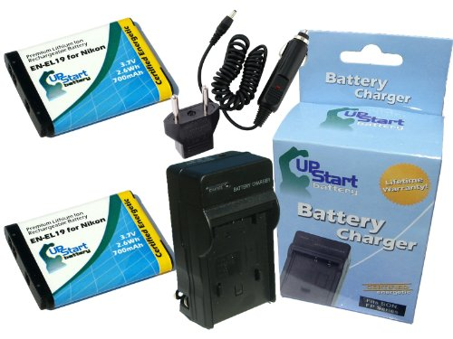 2x Pack - Nikon Coolpix S100 Battery + Charger with Car & EU Adapters - Replacement for Nikon EN-EL19 Digital Camera Battery and Charger (700mAh, 3.7V, Lithium-Ion)