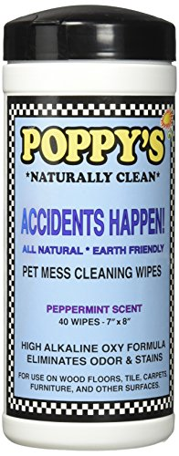 Poppy's Naturally Clean Accidents Happen! Pet Mess Cleaning Wipes, White by Poppy's Naturally Clean