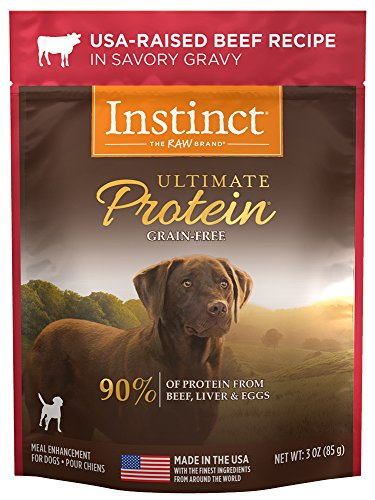 Instinct Ultimate Protein Grain Free USA Raised Beef Recipe Natural Wet Dog Food Topper by Nature's Variety, 3 oz. Pouches (Case of 24)