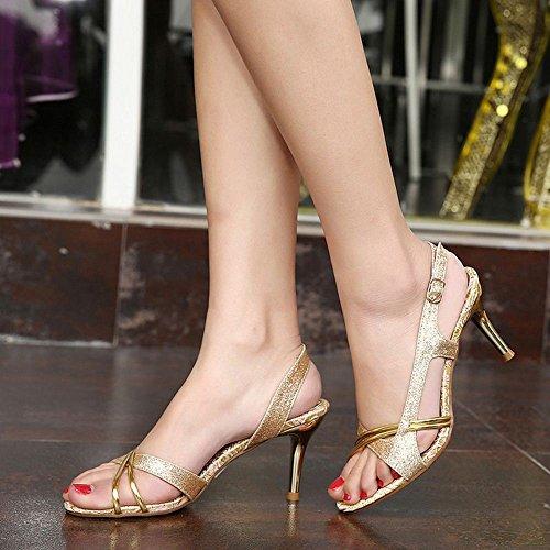 Fiesta Punta Moda Coolcept Sandalias dorado Boda Mujer Abierta Resplandecer Elegant Heeled Zapatos qfqwTUX8
