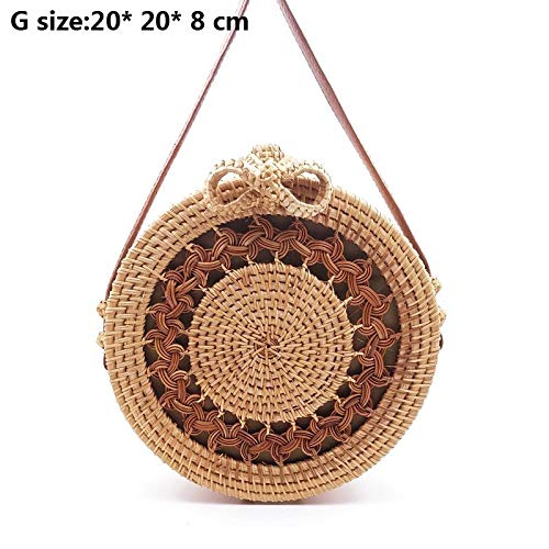 Kong Natural Straw - Zozu 2019 Crossbody Round Handmade Straw Bags Women Summer Rattan Bag Woven Beach Cross Body Shoulder Bag Circle Handbag F-306 (G lou kong hua bian)