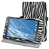 """Insignia NS-P08A7100 Rotating Case,Mama Mouth 360 Degree Rotary Stand With Cute Lovely Pattern Cover For 8"""" Insignia Flex NS-P08A7100 Andriod 6.0 Tablet 2016,Zebra Black"""