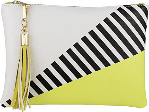 Tassel Accent - B BRENTANO Vegan Clutch Bag Pouch with Tassel Accent (Yellow)