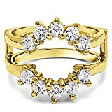 Sunburst Style Ring Guard with Gorgeous Round Stones with 1 carats of Diamonds (G-H,I2-I3) in 14k Yellow Gold