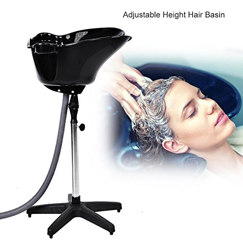 (Portable Salon Basin, Portable Height Adjustable Shampoo Basin Barber Salon Bowl Plastic Shampoo Hair Treatment Beauty Tools)