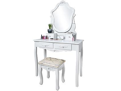 Malatec toletta specchio con sgabello 4 cassetti schminkk ommode