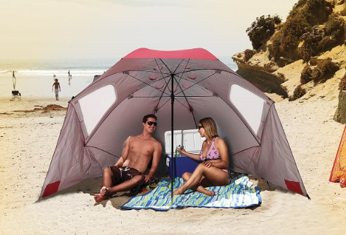 Sport-Brella Vented SPF 50+ Sun and Rain Canopy Umbrella for Beach and Sports Events (8-Foot, Red)