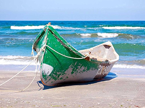 (Seascape Beach Boat Sand Ocean Sea Surf Large Poster Print)