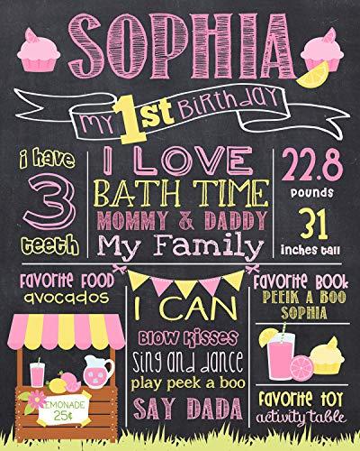 (Dozili Personalized Lemonade First Birthday Chalkboard, Pink Lemonade 1st Birthday Chalkboard, Lemonade Chalkboard Style Printable, Summer First Birthday Chalkboard)