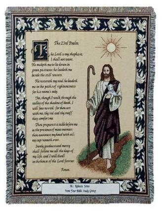Simply Home The 23rd Psalm Bible Scripture Tapestry Throw Blanket 50
