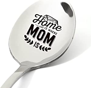 Mom Gifts from Daughter Son, Funny Home is Where Mom Is Spoon Engraved Stainless Steel, Coffee Tea Lovers Gifts for Women Mom Nana, Best Birthday Valentine Mother's Day Christmas Gift