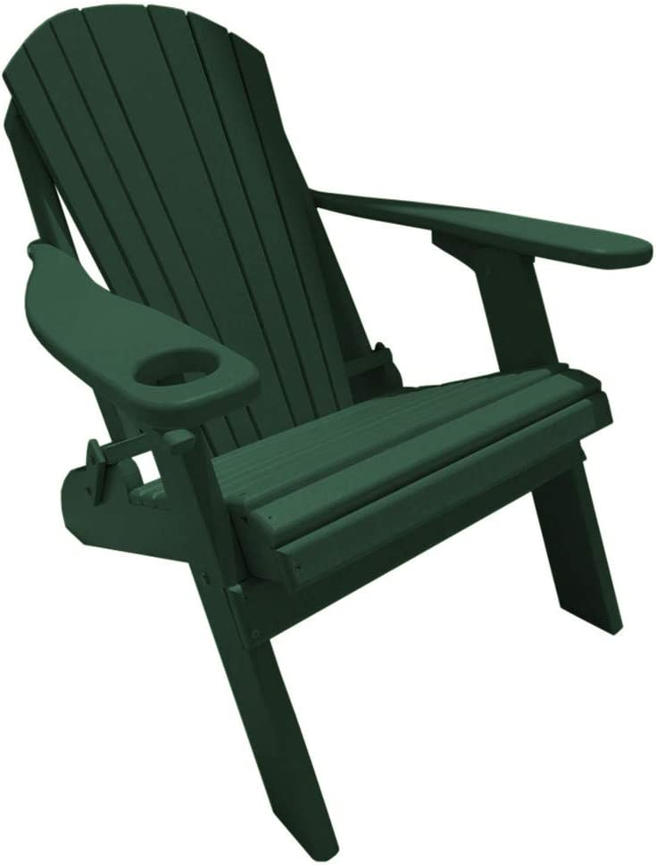 Deluxe Premium Poly Lumber Folding Adirondack Chair w Cup Holder Smart Phone Holder – Green Color