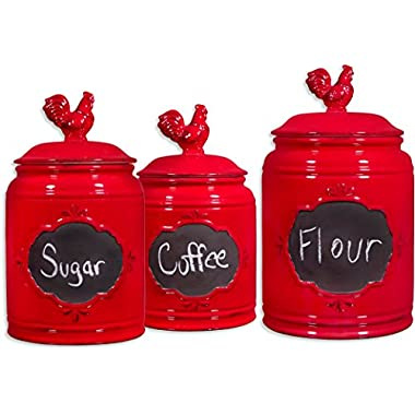 Set of 3 Red Ceramic Round Chalkboard Rooster Canister Jars with Tight Lids for Kitchen or Bathroom, Food Storage Containers,