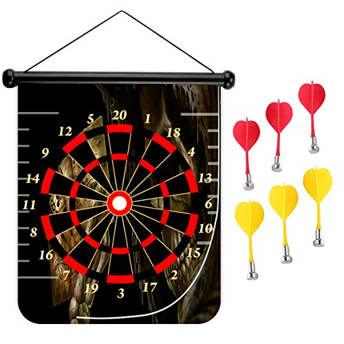 15 inches Magnetic Dart Board Double Sided Hanging Dart Board Set and Bullseye Game! Death Poker by XIAOYI