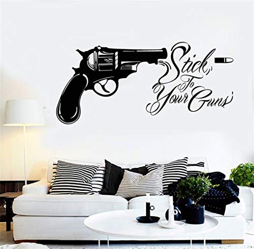 - Wall Stickers Art Decor Vinyl Peel and Stick Mural Removable Decals Revolver Bullet Stick To Your Guns
