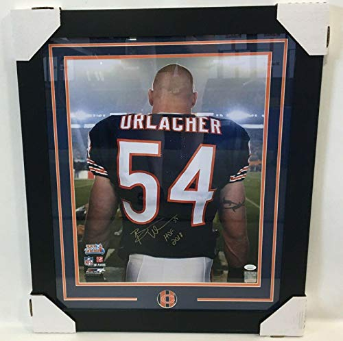 - Brian Urlacher Autographed Photograph - 16x20 Framed W & Witnessed Coa - JSA Certified - Autographed NFL Photos