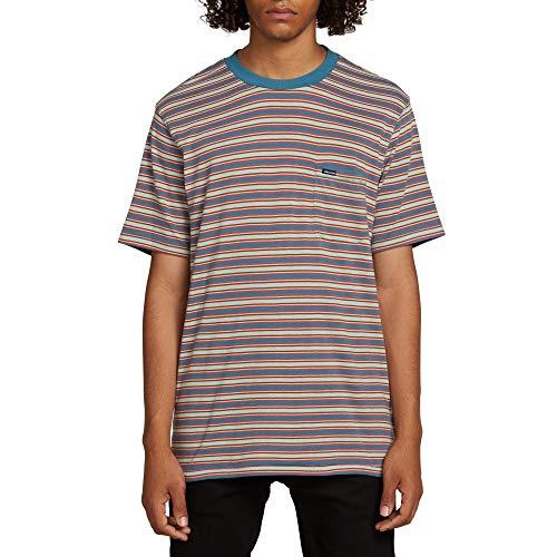 (Volcom Men's Moore Stripey Crew Pocket Short Sleeve Shirt, sea Glass, Medium)