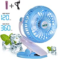TOMOTO Mini Battery Operated Clip Fan,Sall Portable Fan Powered by Rechargeable Battery or USB Desk Personal Fan for Baby Stroller Car Gym Workout Camping,Green (blue)