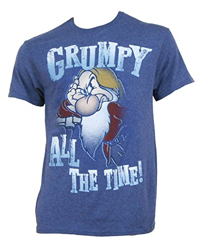 Disney Grumpy All The Time Mens T-Shirt In Heather Navy