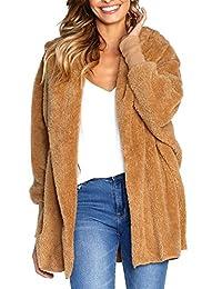 BTFBM Women Casual Long Sleeve Cardigan Warm Hooded Jacket Winter Coat Outwear
