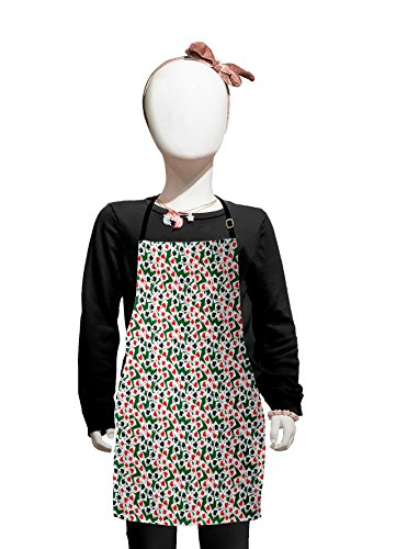 Lunarable Poker Kids Apron, Aces of All Card Suites Scattered on Gambling Table Abstract Poker Theme, Boys Girls Apron Bib with Adjustable Ties for Cooking Baking and Painting, Hunter Green Red Black -