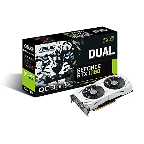 ASUS GeForce GTX 1060 3GB Dual-Fan OC Edition Graphics Card (DUAL-GTX1060-O3G) Video Card Overclocked Edition