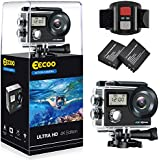 4K WiFi Action Camera Ultra HD Waterproof Camcorder 12MP 170° Wide Angle 2 Inch LCD Screen Sports Camera with Waterproof case, 2 Rechargeable Batteries, Remote Control, Mounting Accessories Kit