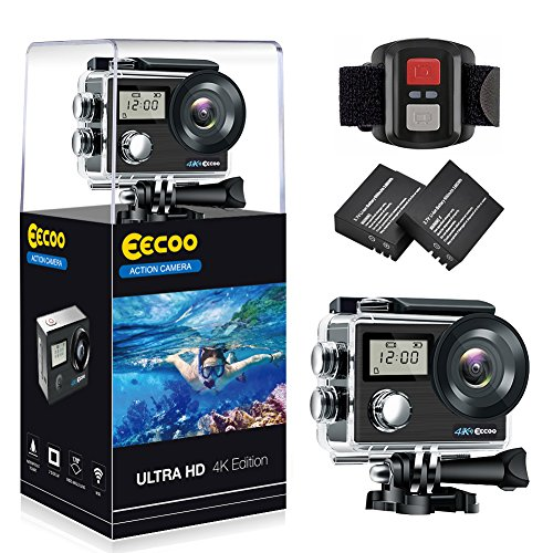Action Camera, 4K Action Camera Wi-Fi Waterproof, Ultra HD 30M Sports Camcorder with 170° Wide Angle Sensor, 2 AA Rechargeable Batteries, Wrist Remote Control and 7 Mounting Accessories Kits